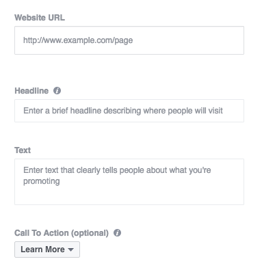 Fields for copy in Facebook ads