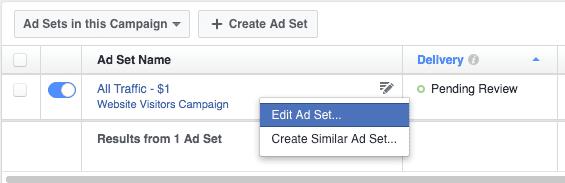 Set your Facebook bid