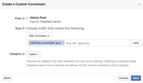 create a custom conversion in FB