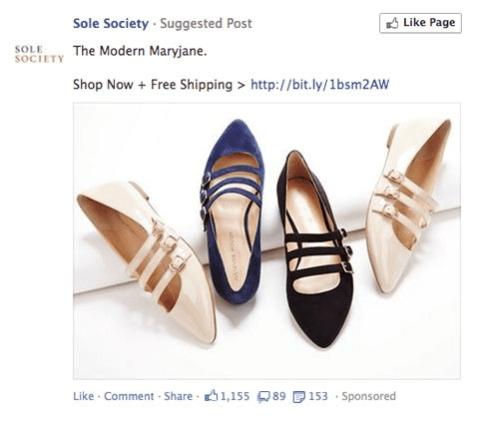 Facebook ad for shoes