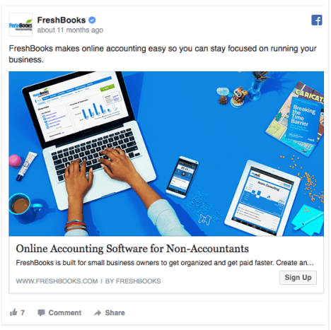 freshbooks facebook ad example 1
