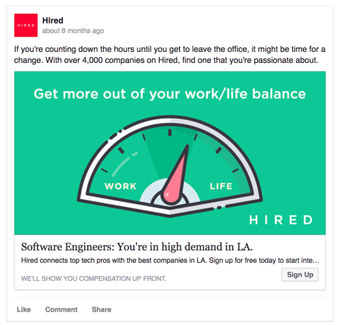 hired facebook ad example