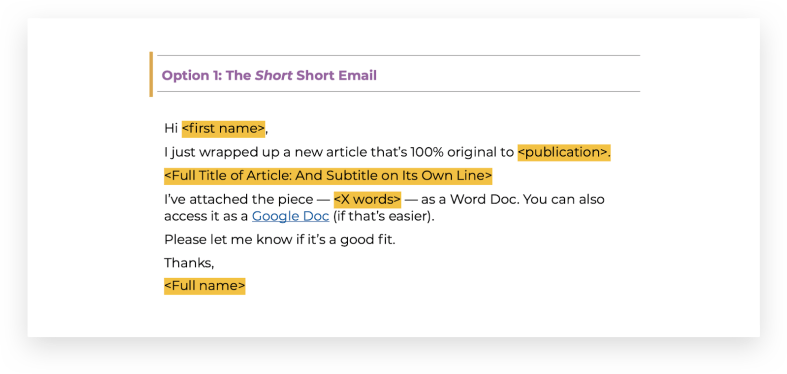 Short email template for guest posting pitch to editors