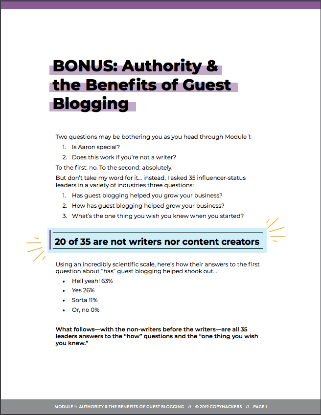 PDF download from Aaron Orendorrf 'Authority & the Benefits of Guest Blogging'.