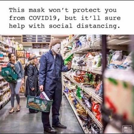 covid meme - michael myers in grocery store