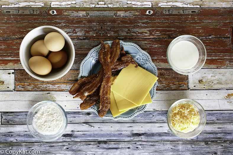 Ingredientes para la receta de imitación de tortilla de tocino IHOP Bacon Temptation.