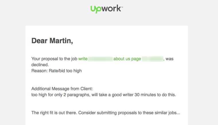 Upwork Proposal Letter Rejection
