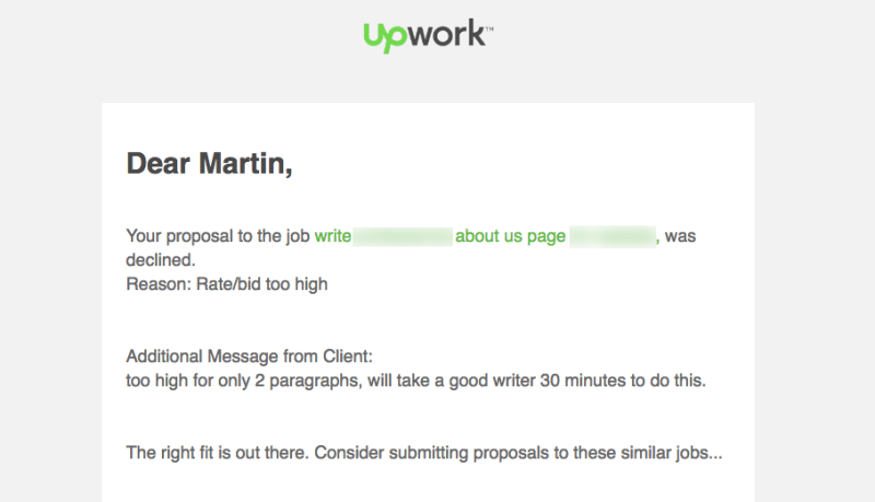 Low-ball offer for writing project on Upwork