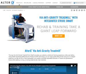 Landing Page for VIA Anti Gravity Treadmill® from AlterG