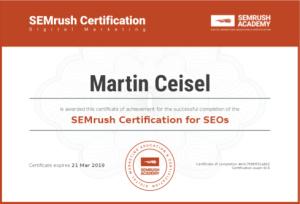 SEMRush Certification for SEOs –Martin Ceisel