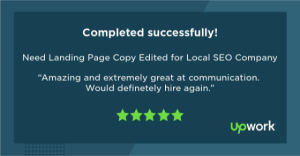 """Five-star Upwork review reading """"Amazing and extremely great at communication. Would definitely hire again."""""""
