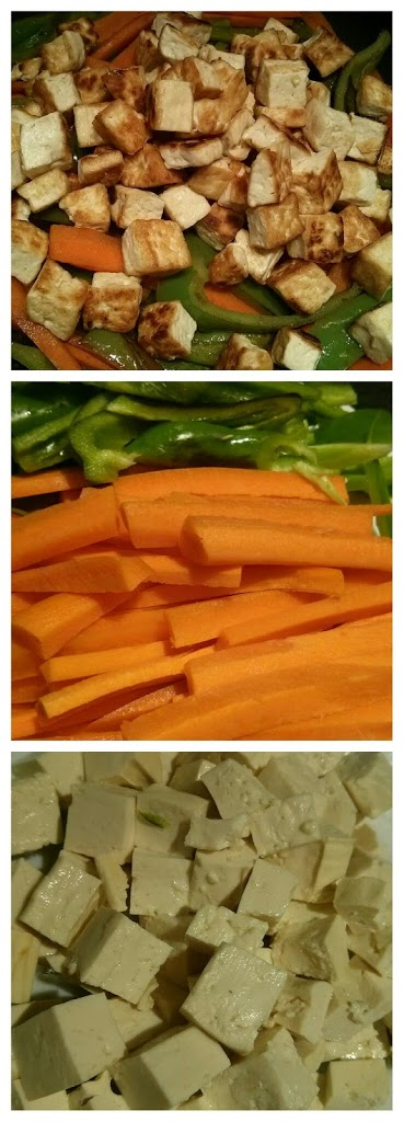 Tofu frito con zanahoria y pimiento verde