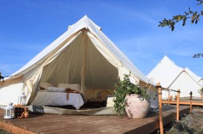 luxury tent where we slept lemnos greece digital nomad camp