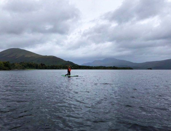 Roslyn on a paddleboard in Loch Lomond