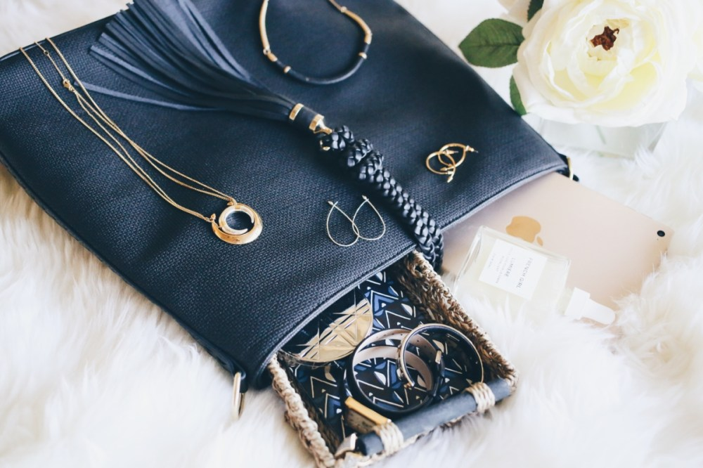 Stella & Dot Fall Preview Sneak Peek Black Purse Flatlay ohmybonbon