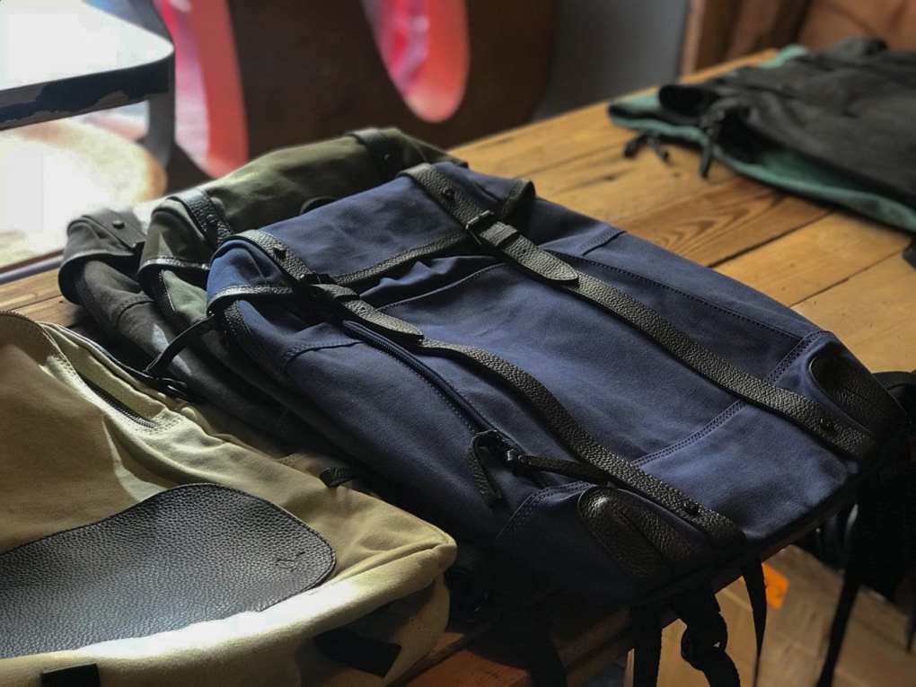 Navy Waxed Backpack