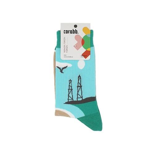 Xəzərin sahilində təsvirli corab