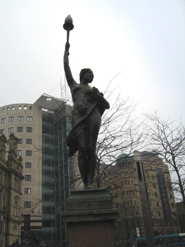 Art Noveau statue in Leeds City Sqaure