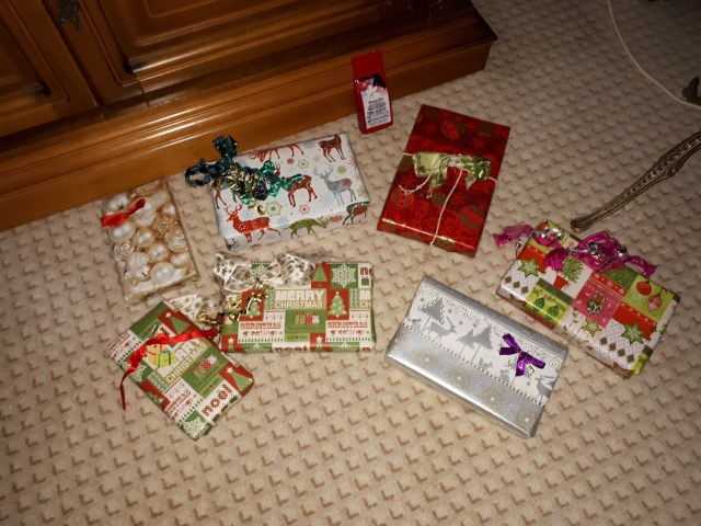 Wrapped Christmas presents (mine)