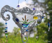 Fused glass and steel art