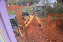 View from bathroom window, down to excavation