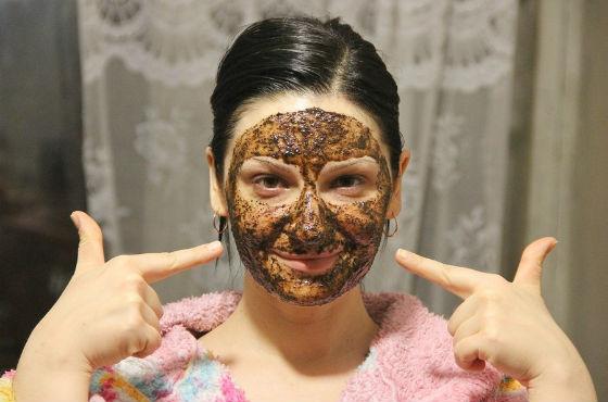 Пилинг кожи лица спитым кофе
