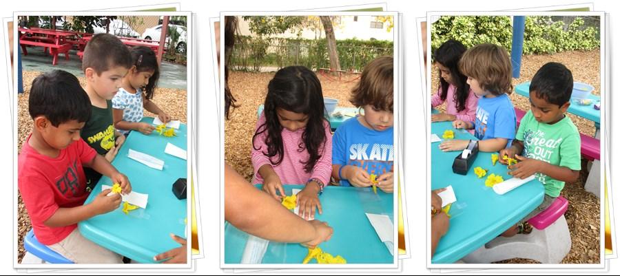 Montessori children working with crafts
