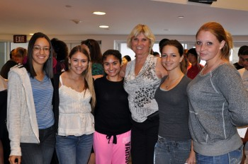 Cindy Thomas with several students from J.P. Taravella High School at the Teen Political Forum in Coral Springs
