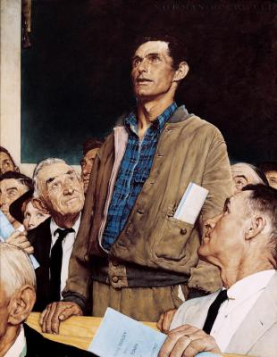 Norman Rockwell, Freedom of Speech, The Saturday Evening Post, February 20, 1943