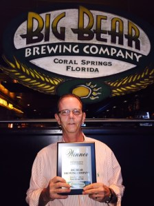 Big Bear Brewing Company co-owner Greg Sherman with our award.