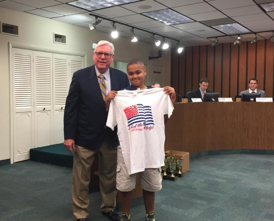 Braxton Smith pictured with Mayor Skip Campbell, was a fifth grade student at Hunt Elementary School and led the Pledge of Allegiance last Spring.