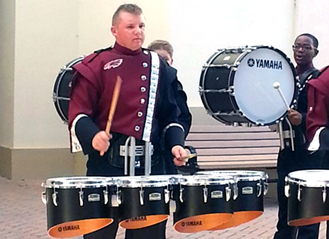 Robbie Flory, percussion player for the Marching Eagles at Stoneman Douglas High School