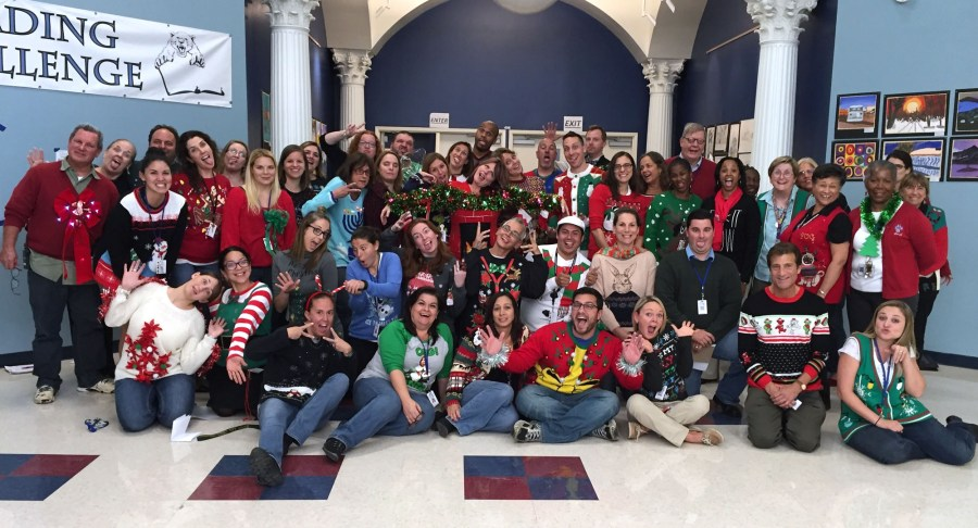 """Teacher's and Staff at Coral Springs Charter School participating in their first first Annual """"Ugly Holiday Sweater Day."""""""