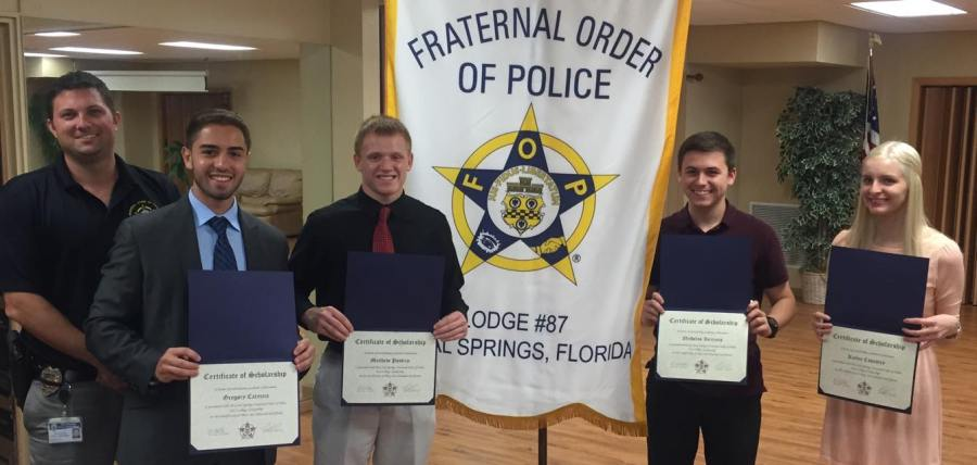 2015 Coral Springs Fraternal Order of Police Scholarship Winners: Gregory Careccia, Matthew Pustizzi, Nicholas Iarriccio, and Kailey Coventry