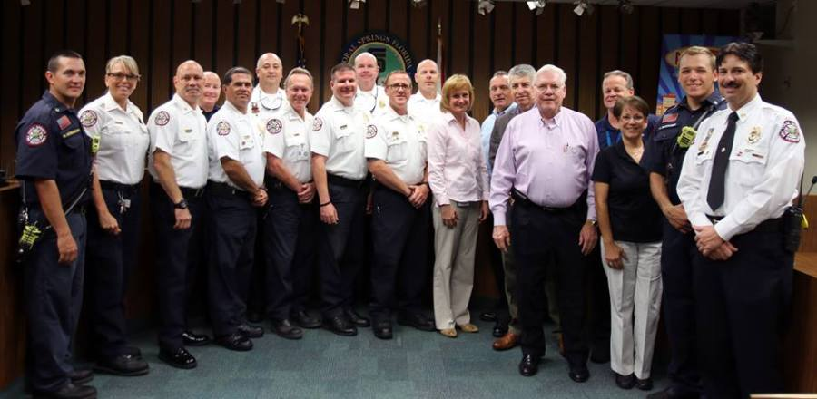City officials along with the Coral Springs Fire Department. Fire Chief Frank Babinec on the right.