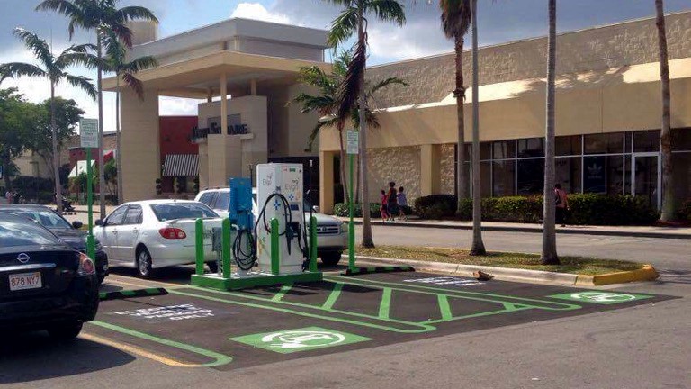 New electric vehicle charging station at Coral Square Mall in Coral Springs
