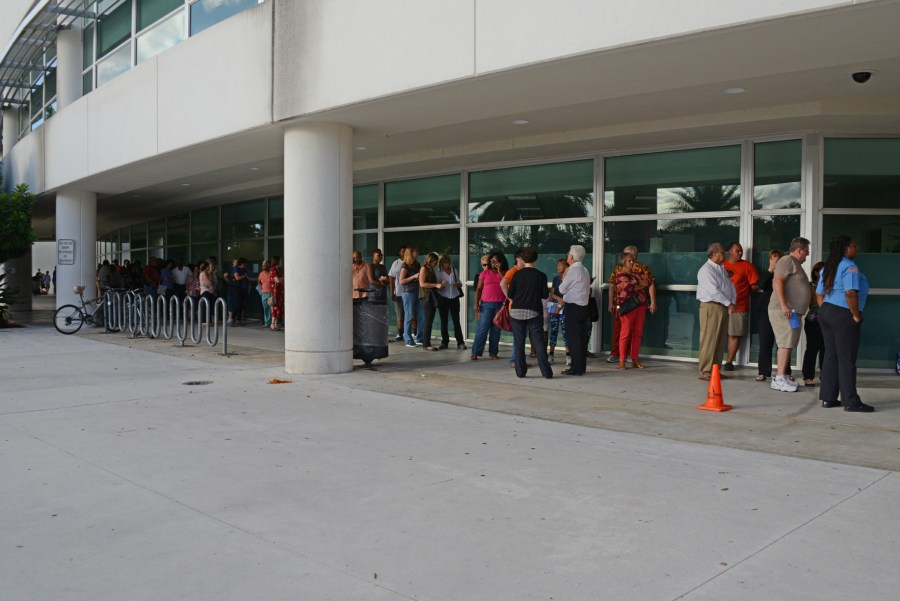 Voters were lined up at the polls at Northwest Regional Library in Coral Springs.