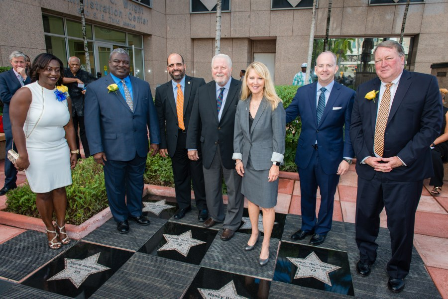 "Broward Education Foundation Honorees L to R: Olayemi Awofadeju, Roderick ""Rocky"" Gillis, Angel Gomez, George Platt, Nancy Botero, George LeMieux and Ulrich ""Ric"" Green on the Walk of Fame."