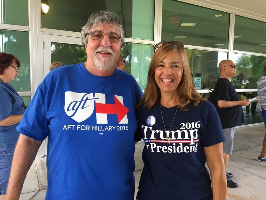 Coral Springs residents Roy Trachtenberg and Susan Ruspantini at the Northwest Regional Library during early voting.