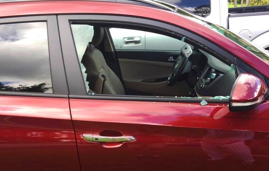 A Fraternal Order of Police Sticker didn't stop vandals from breaking the passenger side window of this victim's vehicle.