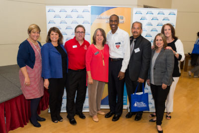 Broward Education Foundation Board Member Luz Negron; Broward County School Board Member Laurie Rich Levinson; Nova Southeastern University Director of School-wide Recruiting Leonard Jacobskind; Broward Education Foundation Board Chair Christina Fischer; Broward County Schools Superintendent Robert Runcie; Fischler School of Education at NSU Program Director Michael Gaffley; Broward County School Board Member Patricia Good and Broward Education Foundation Director of Development Shea Ciriago at the Broward Education Foundation Teacher Idea Expo.