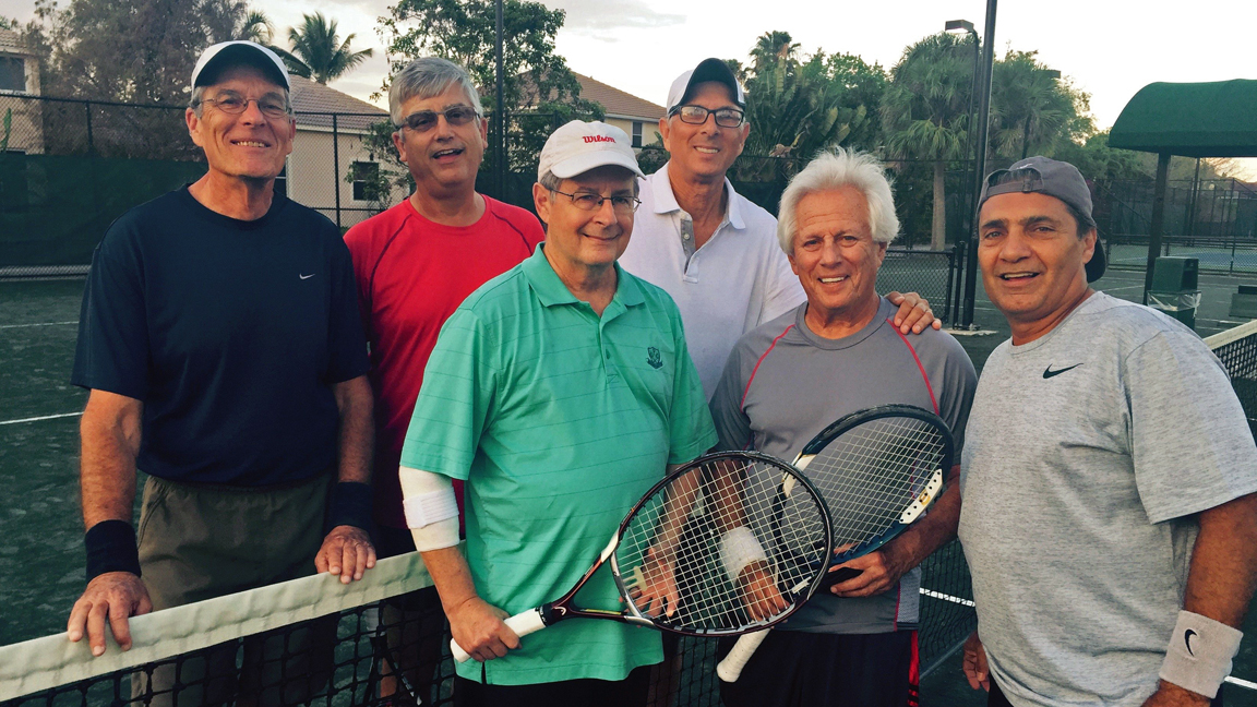 the Coral Springs Tennis Center Senior Team from left to right: Nick St. Cavish, Humberto Florez, Jim Howrey, Jack Kowal, Len Okyn and John Cisneros.