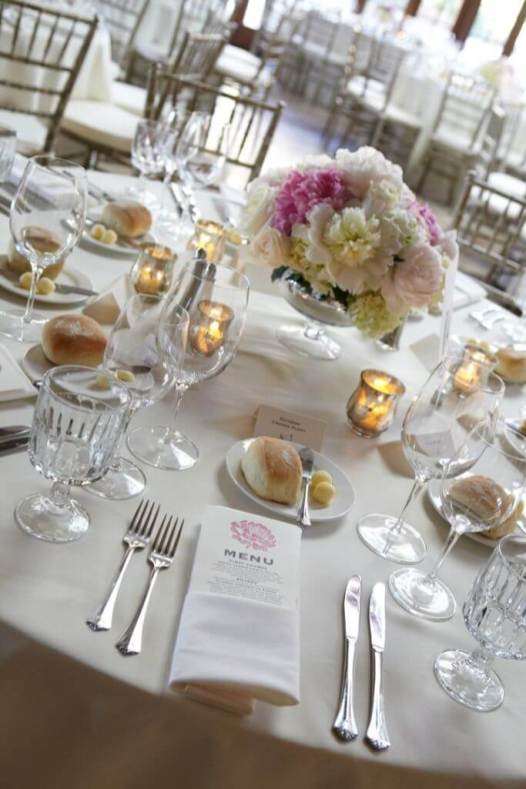 White Table Setting with Hints of Pink