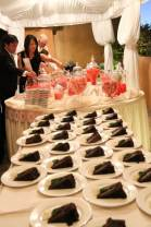 Love Sweet Love Candy Buffet Table in Shades of Pink and Chocolate Wedding Cake
