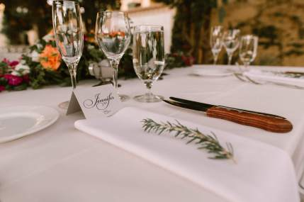 Guest Place Setting with a Sprig of Fresh Rosemary