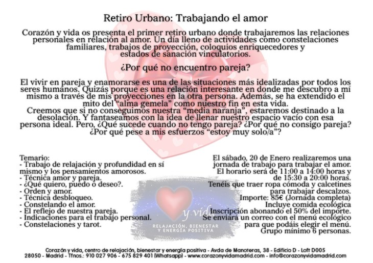 Retiros urbanos - Corazón y vida - Tfno.: 675 829 401 (sólo WhatsApp) - info@corazonyvidamadrid.com