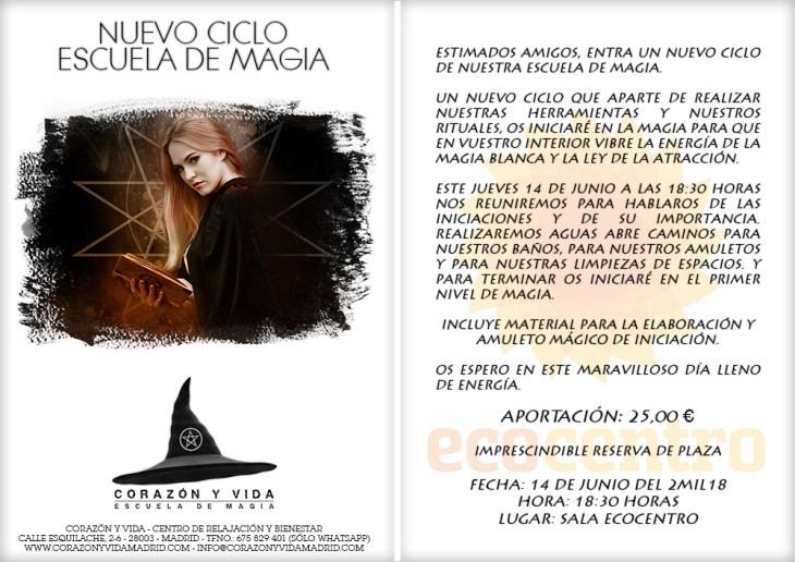 Escuela de magia - Corazón y vida - Sala 03 - Ecocentro - Tfno.: 675 829 401 (sólo WhatsApp) - 28003 - Madrid - info@corazonyvidamadrid.com