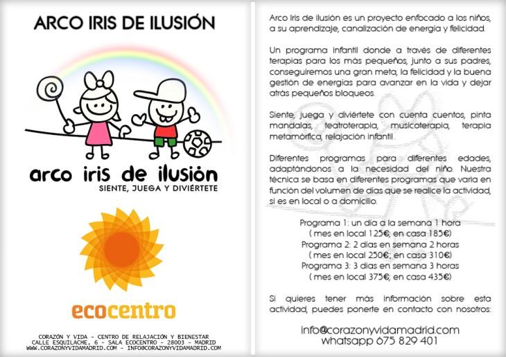 Arco Iris de ilusión - Sala Ecocentro - Terapias, cumpleaños y eventos - Tfno.: 675 829 401 (sóloWhatsApp) - info@corazonyvidamadrid.com