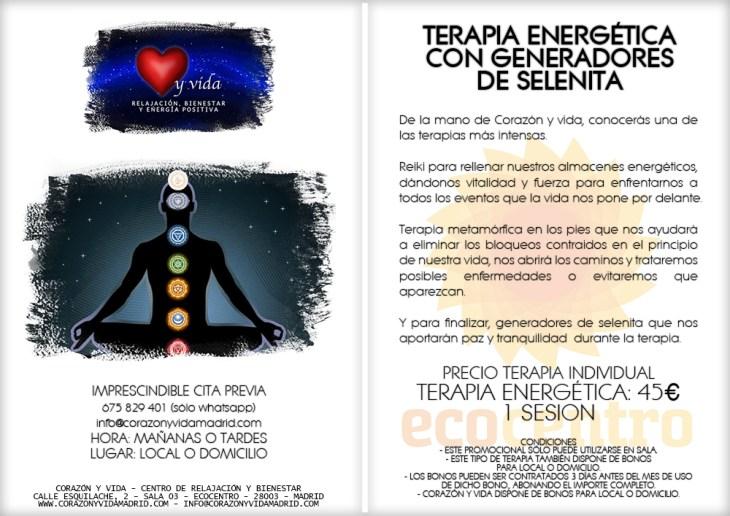 Terapia energética - Corazón y vida - Sala 03 - Ecocentro - Tfno.: 675 829 401 (sólo WhatsApp) - 28003 - Madrid - info@corazonyvidamadrid.com