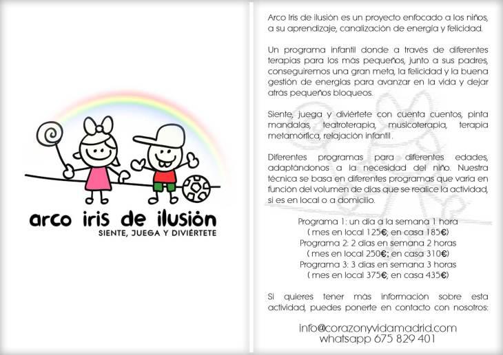 Arco Iris de ilusión - Terapias, cumpleaños y eventos - Corazón y vida - Tfno.: 675 829 401 (sóloWhatsApp) - info@corazonyvidamadrid.com